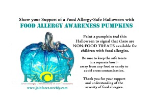 The original teal pumpkin posting by Becky Basalone and FACET in 2012.